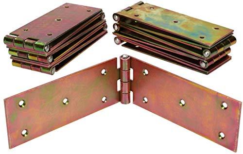 KOTARBAU® Kistenband 250 x 50 mm 10 St. Scharnier Gerollte Tischband Möbelscharnier Verzinkt Gelb Torband Möbelband Türscharnier 2 Flügel Top-Qualität