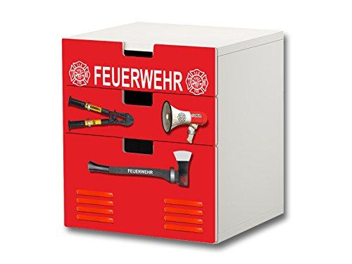 Stikkipix Feuerwehr Möbelsticker/Aufkleber - S3K20 - passend für die Kinderzimmer Kommode mit 3 Fächern/Schubladen STUVA von IKEA - Bestehend aus 3 passgenauen Möbelfolien (Möbel Nicht inklusive)