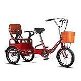 Triciclo de Adultos Triciclo Adulto Triciclo Adulto Plegable 16 Pulgadas Bicicleta 3 Ruedas Simple Ciudad Moderna Bicicleta Trike Bicicleta Bicicleta Para Picnic Compras Trabajo Hombres Y(Color:rojo)