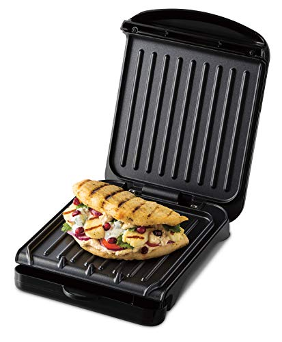 George Foreman 25800 Small Fit Grill - Versatile Griddle, Hot Plate and Toastie Machine with Speedy Heat Up and Easy Cleaning, Black