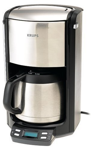 alternative coffee makers KRUPS FMF5 Programmable Coffee Maker with Double Wall Thermal Carafe and LED control panel, 10-Cup, Black