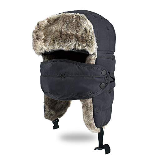 BROTOU Unisex Wintermütze mit Ohrenklappen, Kunstfellmütze, Fliegermütze, Trappermütze; hält warm beim Skifahren, Schlittschuhlaufen und Anderen Outdoor-Aktivitäten … (Schwarz)