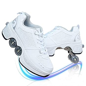MLyzhe Deformation Roller Shoes Male and Female Skating Shoes Adult Children s Automatic Walking Shoes Invisible Pulley Shoes Skates with Double-Row Deform Wheel,White,42