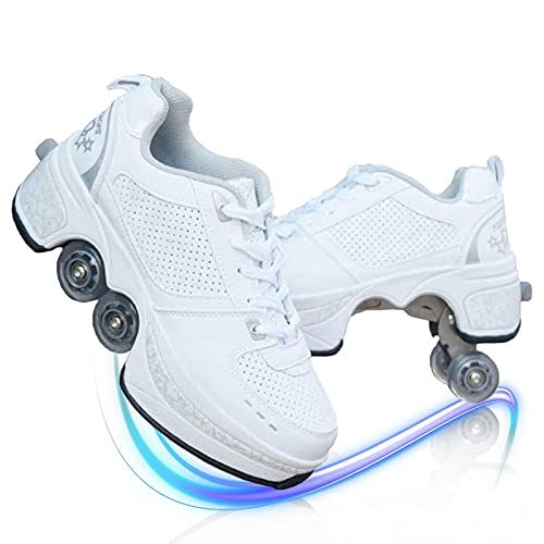 MLyzhe Deformation Roller Shoes Male and Female Skating Shoes Adult Children's Automatic Walking Shoes Invisible Pulley Shoes Skates with Double-Row Deform Wheel,White,40