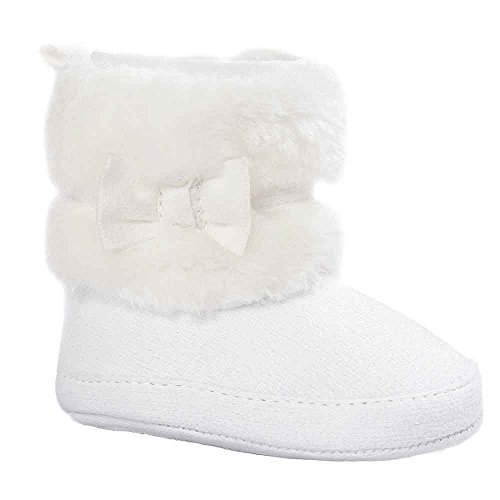 Babyschuhe Bowknot Warm Lauflernschuhe Weiche Sohle Schneeschuhe Weiche Krippe Schuhe Kleinkind Stiefel Moginp(Weiß,6-12 Monate