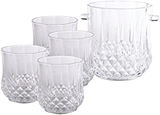 Gibson Home 6 Piece Jewelite Machine Made Cut Glass Ice Bucket and Drink ware Set with Stainless Steel Tongs, Clear