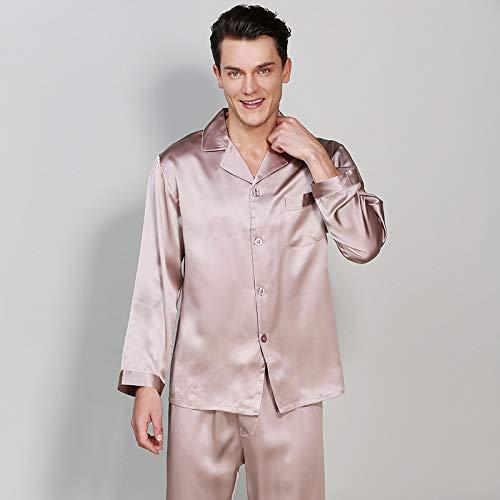 Handaxian Herren-Langarm-Pyjama aus Schwerer Seide, 19 mm, Set, 100{e0a324ec6e7e726c99784ece475519d50ecf36e97f547eb9b93a8bcd627adec1} Seidenraupenseide, Frühling und Herbst