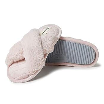 Dearfoams Women s Jessica Furry Cross Band Slide Slipper Dusty Pink Large