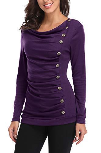 MISS MOLY Damen Langarmshirt Pullover Tunika Bluse T Shirt mit Knöpfen Violett Medium