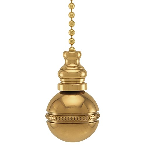 """Polished Brass Beaded Ball Fan Pull, 1""""h with 12"""" Polished Brass Chain"""