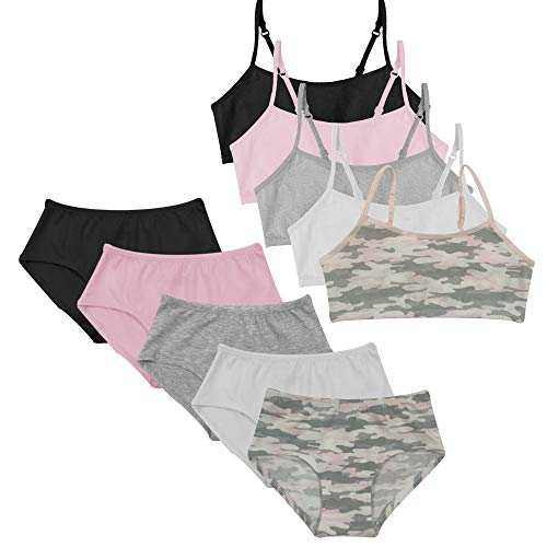 Popular Girl's Matching Underwear Set - Cotton Cami Bra and Hipster Panties - 10 Pieces - Pink Camo - L (10/12)
