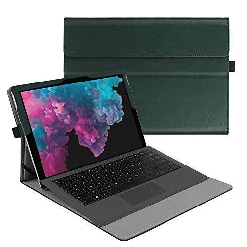 Fintie Case for Microsoft Surface Pro7 / Pro 6 / Pro 5 / Pro 4 / Pro 3 - Multiple Angle Viewing Portfolio Business Cover, Compatible with Type Cover Keyboard, Dark green