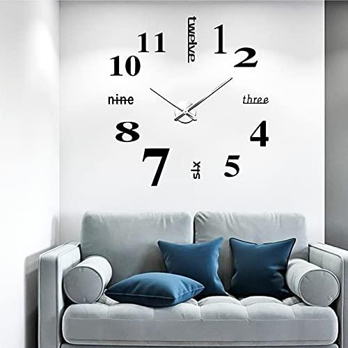 Afaneep Orologio Parete, Orologio da Parete Cucina, Orologio da Parete Grande, Adesivo Orologio Decorativo per Camera da Letto, Ufficio
