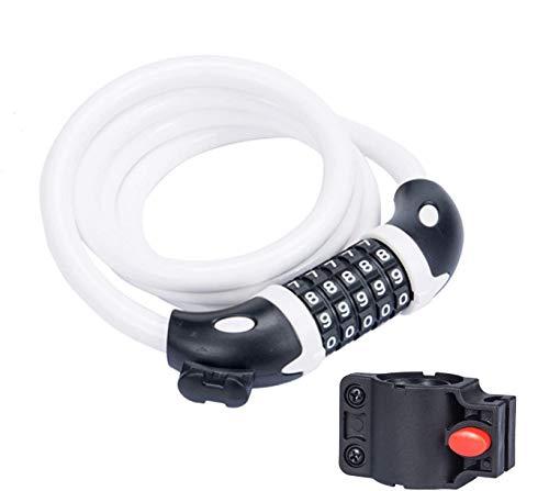 TuTuShop Candado de cadena de bicicleta con códigos de 5 dígitos, bloqueo de cable de combinación reajustable para bicicleta, moto, puerta, cochecito, rejillas, equipaje (blanco)