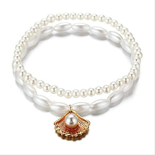 CHIY-GBC Fashion Anklet White Scallop Imitation Pearl On Foot Ankle Bracelet for Women Jewelry Gift 22cm - 20cm Long