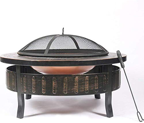 JFZCBXD Outdoor Fire Pit Grill,Patio Stove Wood Burning Fire Pit with Mesh Spark Screen Cover,Round Fire Pit for Camping, Outdoor, Patio, Backyard and Garden