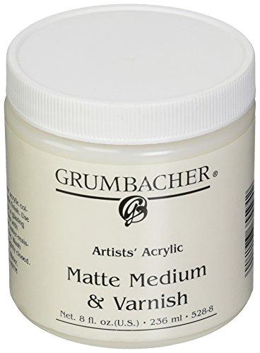Grumbacher Artists' Acrylic Matte Medium And Varnish, 8 oz. Jar by