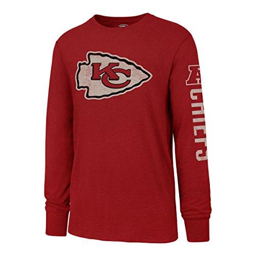 OTS NFL Kansas City Chiefs Men's Slub Long Sleeve Team Name Tee, Distressed Sinclair, Medium