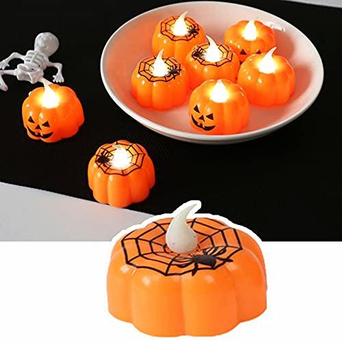 12 Piezas, Luces De Calabazas PequeñAs De Halloween, Vela Falsa EléCtrica De...