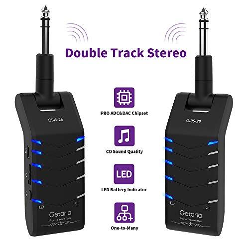 Getaria 2.4GHZ Doppelspur Stereo Wireless Gitarre System wiederaufladbare Hochfrequenz-Batterie Drahtlose digitale Sendener Empfänger 5 Kanäle Übertragungsbereich