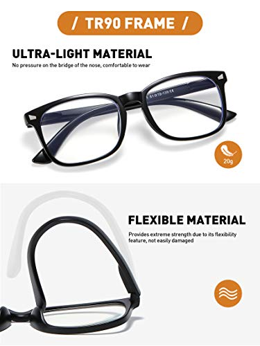 CCVOO 5 Pack Blue Light Blocking Reading Glasses Women/Men, Anti UV Ray Readers Fashion Nerd Eyeglasses with Spring Hinge