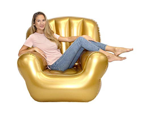 Air Candy Inflatable Classic Arm BloChair, Indoor or Outdoor, Metallic Gold, Contemporary Accent, Bedroom, Dorm Room, Living Room, Gaming Chair, Play Throne, Party Decor