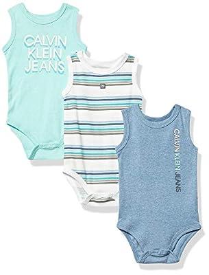 Calvin Klein Baby Boys' 3 Pieces Pack Bodysuits, Navy/Azure/Stripes, 6-9 Months