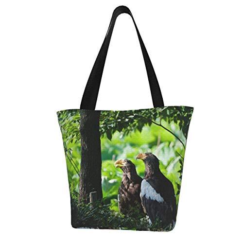 Bolsa de lona personalizable, diseño de pájaros de hierba depredadora de madera, lavable, bolsa de hombro, bolsa de compras para mujer