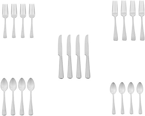 Amazon Basics 20-Piece Stainless Steel Flatware Set with Square Edge, Service for 4
