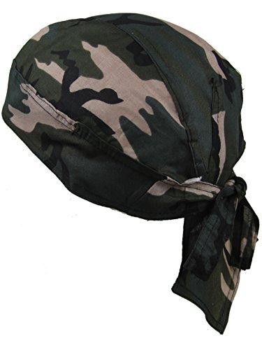 Bandana pañuelo para la cabeza pre atada bosque de camuflaje marrón y verde