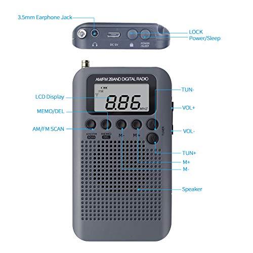 Mini Radio Portatil Pequeña Digital Radio de Bolsillo con Altavoz ...