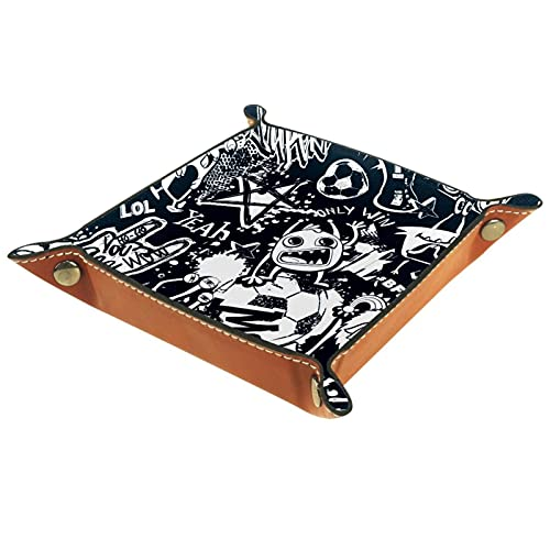 rogueDIV Bandeja plegable de piel sintética para dados, soporte de dados para D&D, RPG, juegos de mesa o escritorio para guardar llaves de teléfono, graffiti 15,7 x 15,7 cm