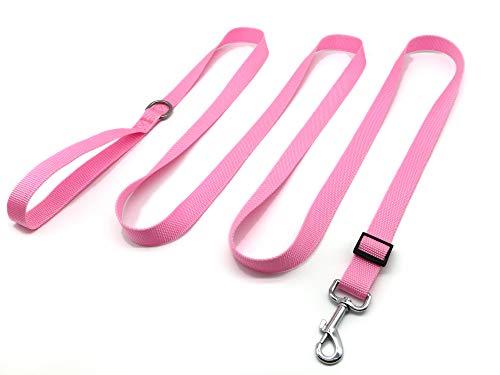 TAIAN Verstellbare Hundeleine aus Nylon, 3 m lang, für mittelgroße und große Hunde (Pink)