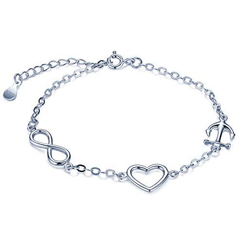 Pulsera de plata de ley 925, pulseras de corazón con símbolo de infinito y ancla, pulseras ajustables para mujeres y niñas, plata, regalo de cumpleaños de Navidad
