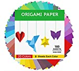 Origami Paper Double Sided Color - 160 Sheets - 20 Colors - 6 Inch Square Easy Fold Paper for Beginner