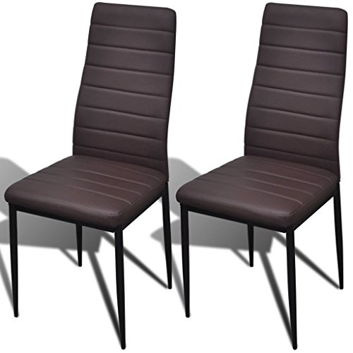 XINGLIEU Esszimmerstühle 2 Stk. Essstühle Kunstlederstuhl Schlankes Design Braun Lehnstuhl Esszimmer Stuhl 41 x 51 x 98 cm