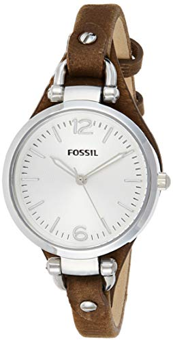 Fossil Women's Georgia Quartz Leather Casual Watch, Color: Silver,...