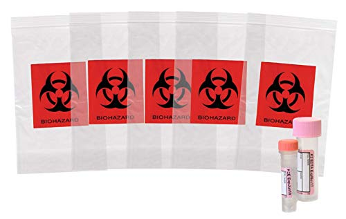 APQ Pack of 100 Biohazard Specimen Bags, Black and Red 3 x 5. Zip Lock Top Plastic Pouch Bags 3x5, Thickness 2 mil. Printed Polyethylene Transport Bags for Shipping, Packaging Specimens.