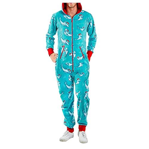 Pyjama Herren Karierter Schlafanzug Overall Pyjama Kuschelig Onesie Einteiler Hausanzug Langarm Pyjamahose Sleepwear Hausanzug Playsuit One Piece Reißverschluss Trainingsanzug mit Kapuze und Tasche