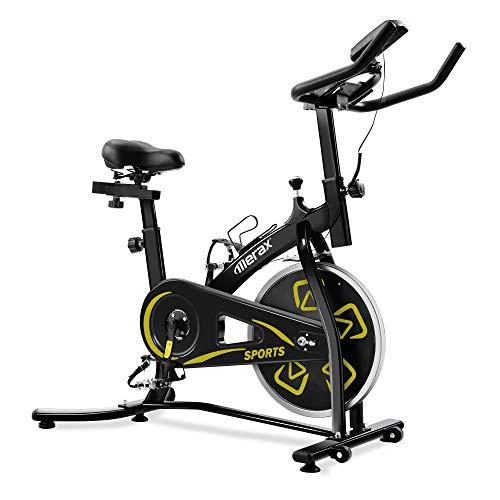Merax Heimtrainer Fitness Bike,Spin Bike Studio-Fahrräder Trainingsgeräte Einstellbare Lenker & Sitz an Bord Computer liest Geschwindigkeit, Entfernung, Zeit, Kalorien + Puls (Schwarz Gelb)