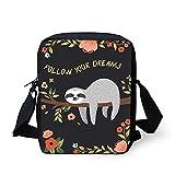 Frestree Women Kids Small Messenger Bag Follow Your Dream Sloth Flower Design Mini Crossbody Clutch Purse for Outdoor Travel Portable
