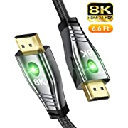 8K HDMI Cable 2.1 Compatible with All 4K 2K,6.6Ft Ultra HD High Speed 48Gbps Compatible with Apple TV Roku PS5/PS4/PS3 Xbox One X/Series X Samsung QLED 8K Q8/Q9 Sony Z8H/Z9G LG OLED ZX/99/Z9
