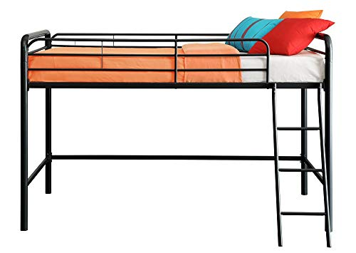 DHP Junior Loft Bed Frame With Ladder, Black (Renewed)