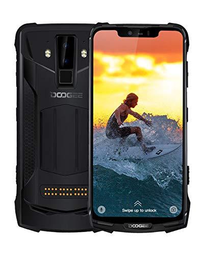 DOOGEE S90C Rugged Smartphones Unlocked 4G, Dual SIM Unlocked Cell Phone Android 9.0, IP68/IP69K Waterproof Helio P70 4GB+64GB, 6.18 inch 5050mAh, 16MP+8MP+8MP AI Camera NFC Wireless Charge, Black