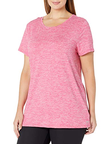 Amazon Essentials Plus Size Tech Stretch Short-Sleeve Crewneck T-Shirt Fashion-t-Shirts, Radiant Raspberry Heather, 1X