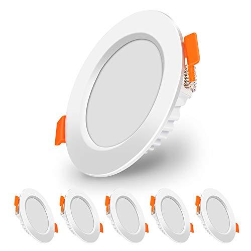 LED Einbauleuchte Flach 230V, Nakeey 5er Set LED Spots flach 6W 230V IP44 Warmweiß Badleuchten Einbauleuchten LED 3000K 570lm für Wohnzimmer, Schlafzimmer, Küche, Büro [Energieklasse A+]