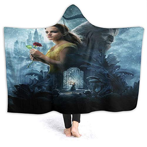 MIGAGA Hoodie Blanket Warm Flannel,Beau-ty and The Bea-st Print,Soft Wearable Throw Blankets 60'×50'
