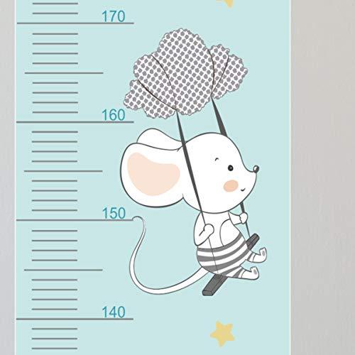 greenluup beschreibbare Messlatte Wachstumsdiagramm Maus mit Fallschirm Ballon Sterne Kind Kinderzimmer (Mäuse Mint)
