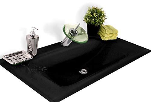 SAM Milchglasbecken Santana, Waschbecken vorne abgerundet, schwarzes Glas, Waschtisch 100 cm, ohne Unterschrank