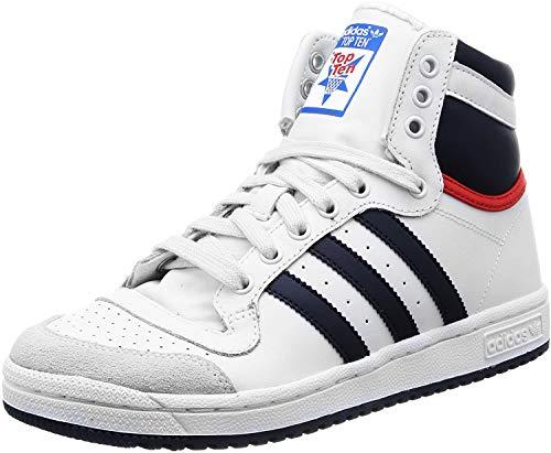adidas Top Ten HI J - Zapatillas para niño, Blanco / Rojo, 35,5
